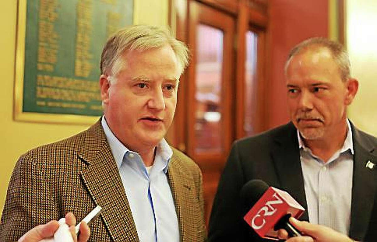 House Speaker Brendan Sharkey and House Majority Leader Joe Aresimowicz.