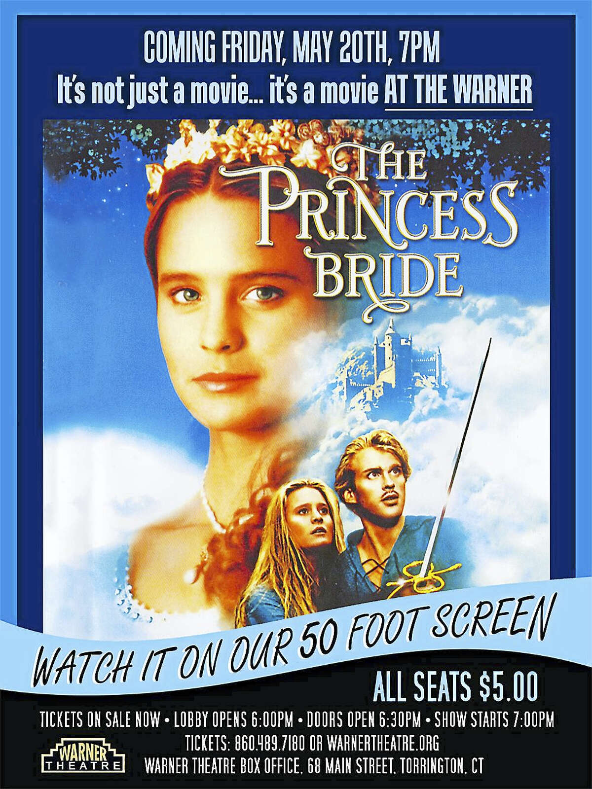 Contributed photoThe Warner Theatre will show The Princess Bride on its 50-foot screen in the main theater in May.