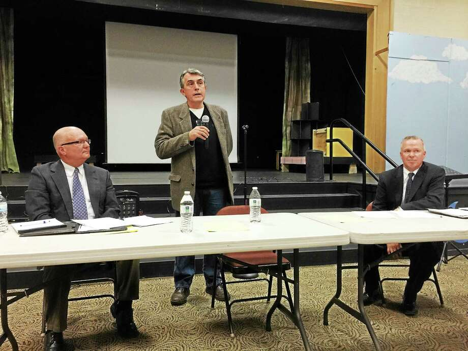 The candidates running to serve as first selectman of New Hartford took part in a debate Thursday evening at the Ann Antolini School. From left: John Burdick, Michael Companik, Daniel Jerram. Photo: Ben Lambert — The Register Citizen