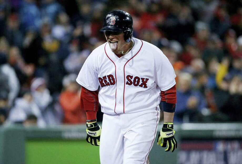 The Red Sox's Christian Vazquez celebrates his two-run home run in the seventh inning against the Yankees in Boston on Sunday. Photo: Michael Dwyer — The Associated Press  / AP