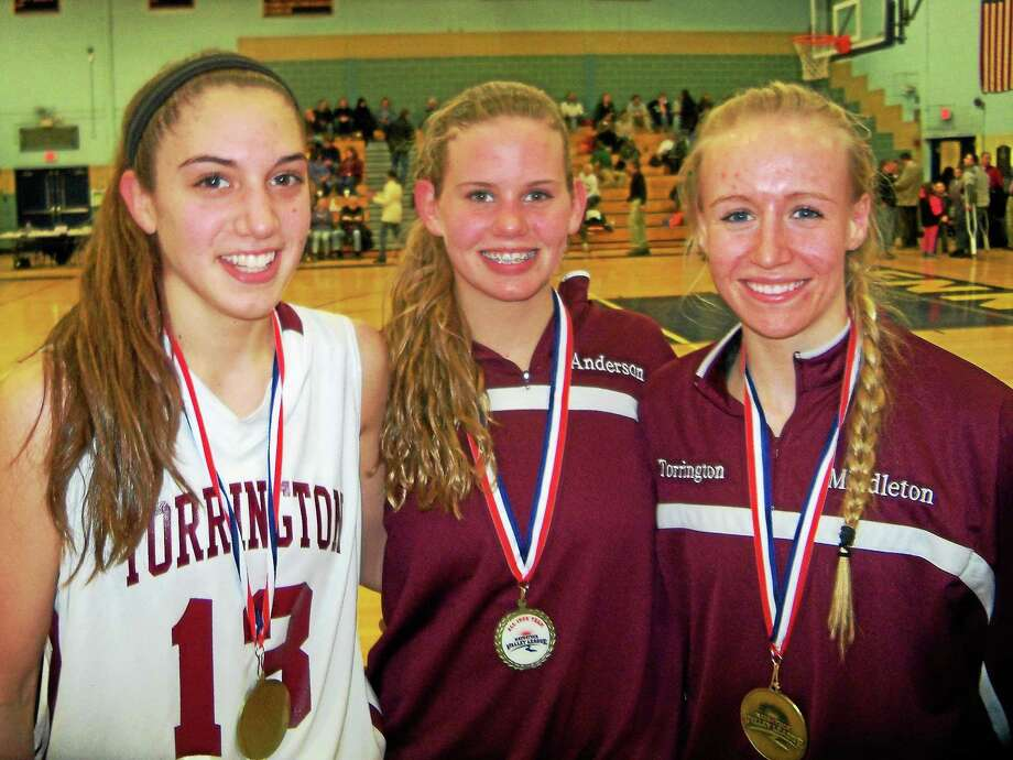 Torrington's Brie Pergola and Paige Middleton (left and right) were named All-NVL at Monday's semifinals. Brittany Anderson (middle) was voted All-Iron Division. Photo: Peter Wallace — Register Citizen