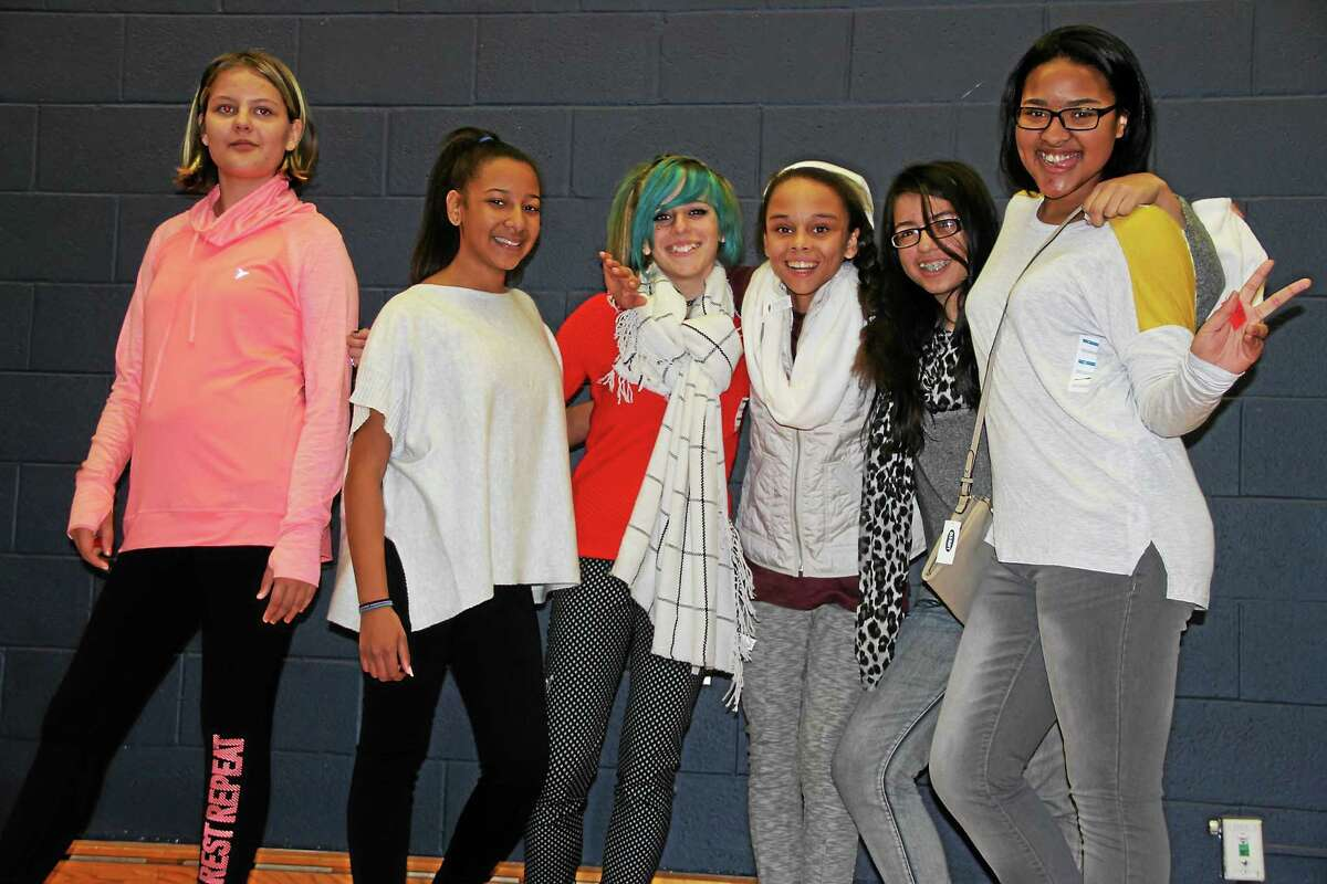 From left, Angel Blauvelt, Jennifer Duran, Danni Klepper, Taja Peterson, Jasmine Aldarondo and Genesis Shepard, all students at Torrington Middle School, participate in a fashion show during the Second Annual Girls Summit held Friday at the University of Connecticut Torrington campus.
