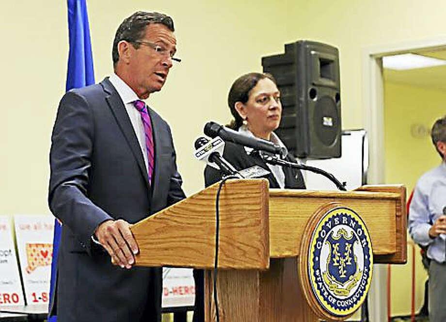 Gov. Dannel P. Malloy and DCF Commissioner Joette Katz Photo: Christine Stuart Photo