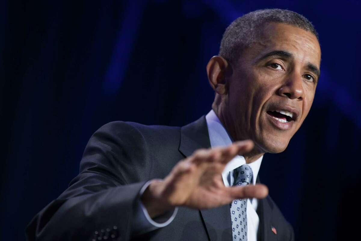 President Barack Obama speaks at the Democratic National Committee winter meeting in Washington on Feb. 20, 2015.