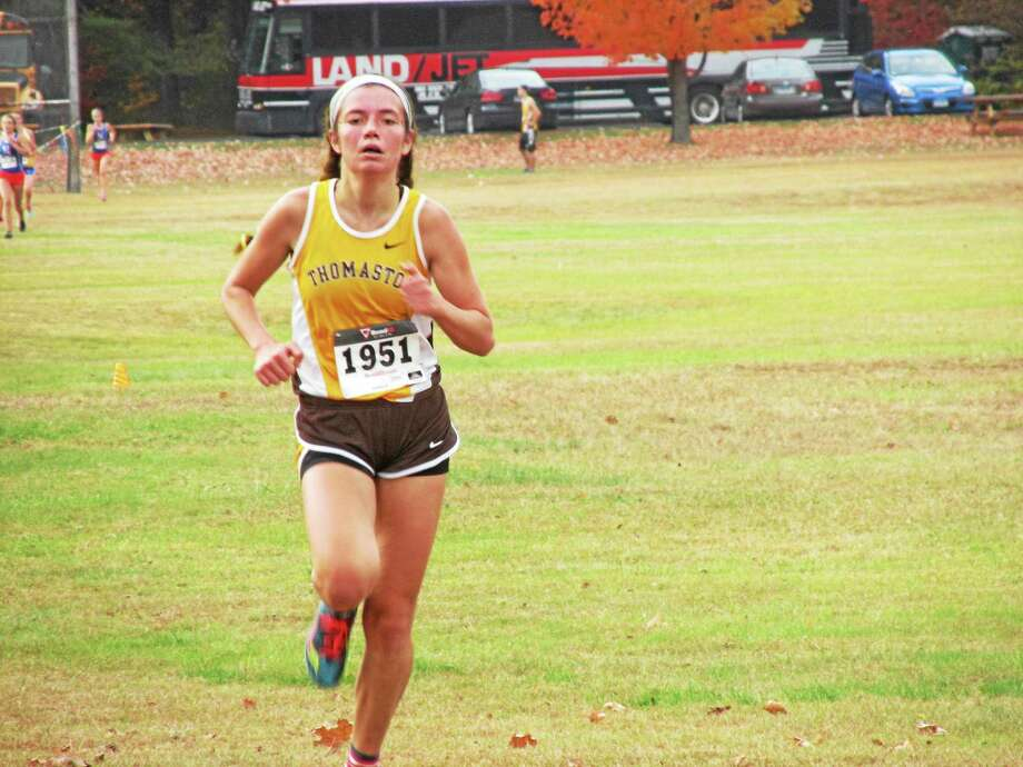 Peter Wallace - RegisterThomaston's Sammi Breier crosses the finish line first in the Berkshire League girls championship. Photo: Journal Register Co.