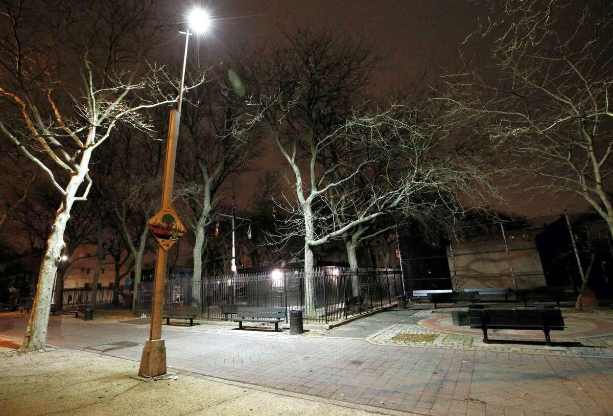 FILE- In this Jan. 14 photo, new floodlight-style lighting illuminates Osborn Playground in the Brooklyn borough of New York.