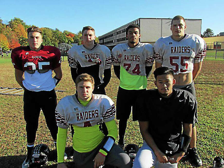 Torrington football running backs and receivers shown above are, front row left to right: Zak Mancini, Domonick Phengkaen. Back row left to right: Cam Cerutto, Jordan Henneberry, Newton Frias, Nate Bresson. Photo: PETER WALLACE — REGISTER CITIZEN