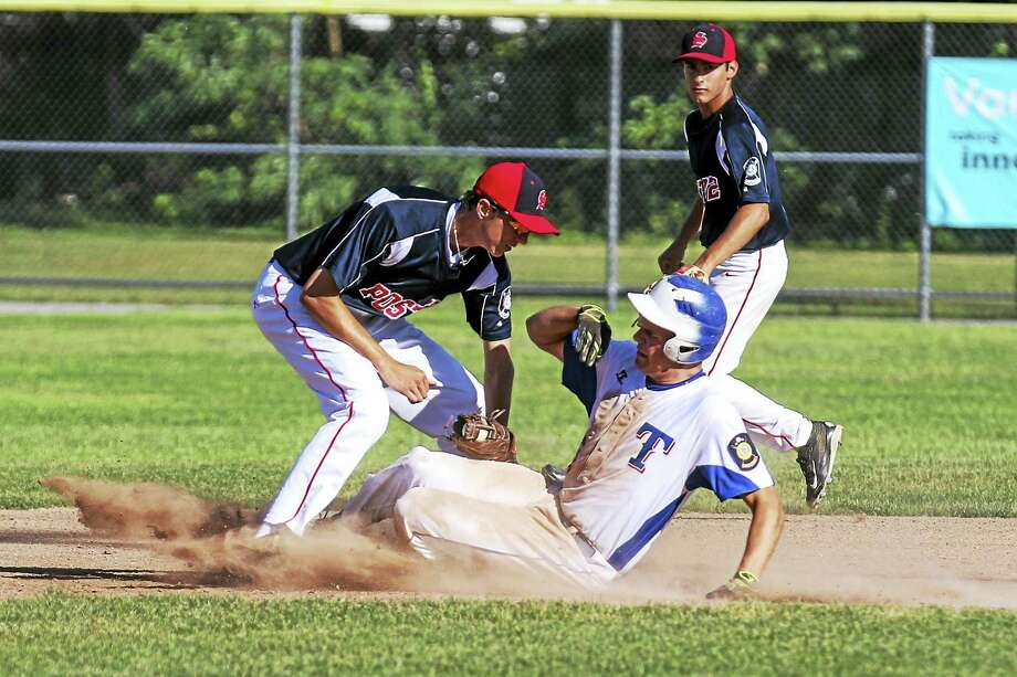 P38 Matt McCarthy, stealing second, showed the energy that left Torrington just a few crucial plays behind Southington in an American Legion Baseball loss at Fuessenich Park Thursday afternoon. Photo: Photo By Marianne Killackey  / 2015