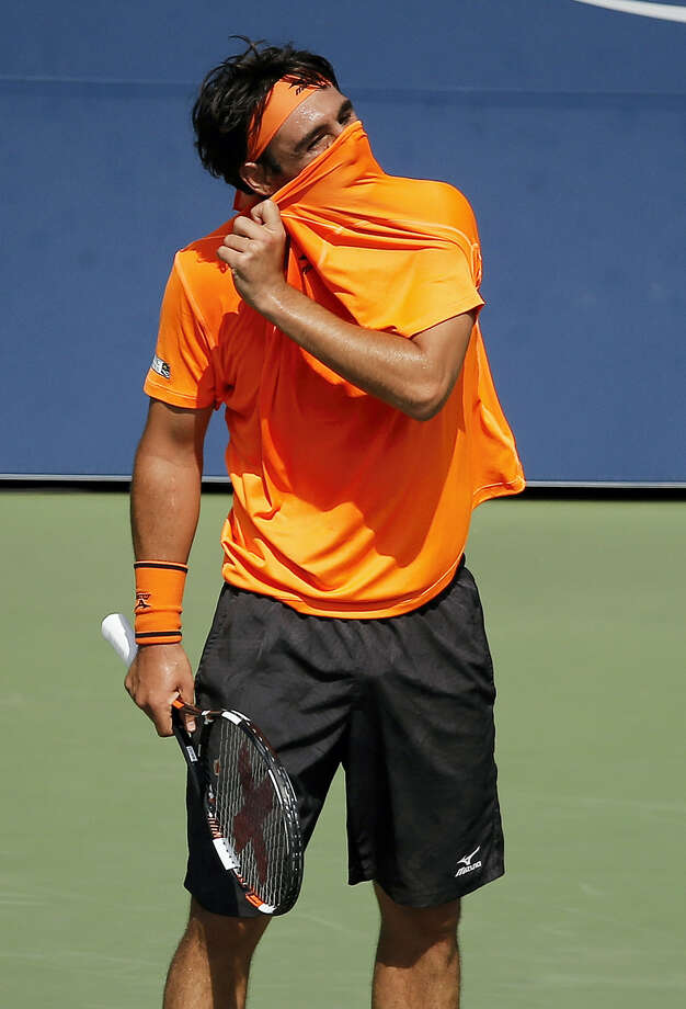 Marcos Baghdatis reacts after a point against Gael Monfils on Sunday. Photo: Andres Kudacki — The Associated Press  / FR170905 AP
