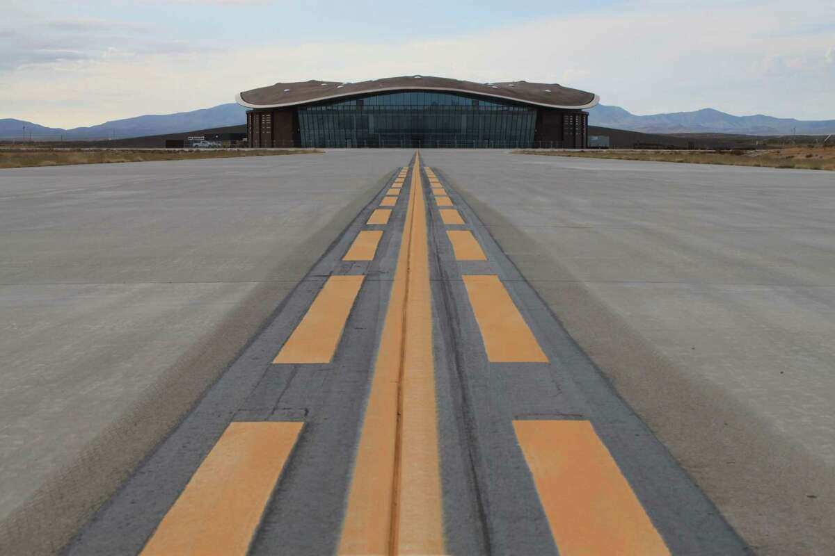 The taxiway leading to the hangar at Spaceport America in Upham, New Mexico. Spaceport officials are planning to open a visitors' gallery at the hangar in late February and are looking forward to SpaceX beginning test flights for its rocket program this spring.