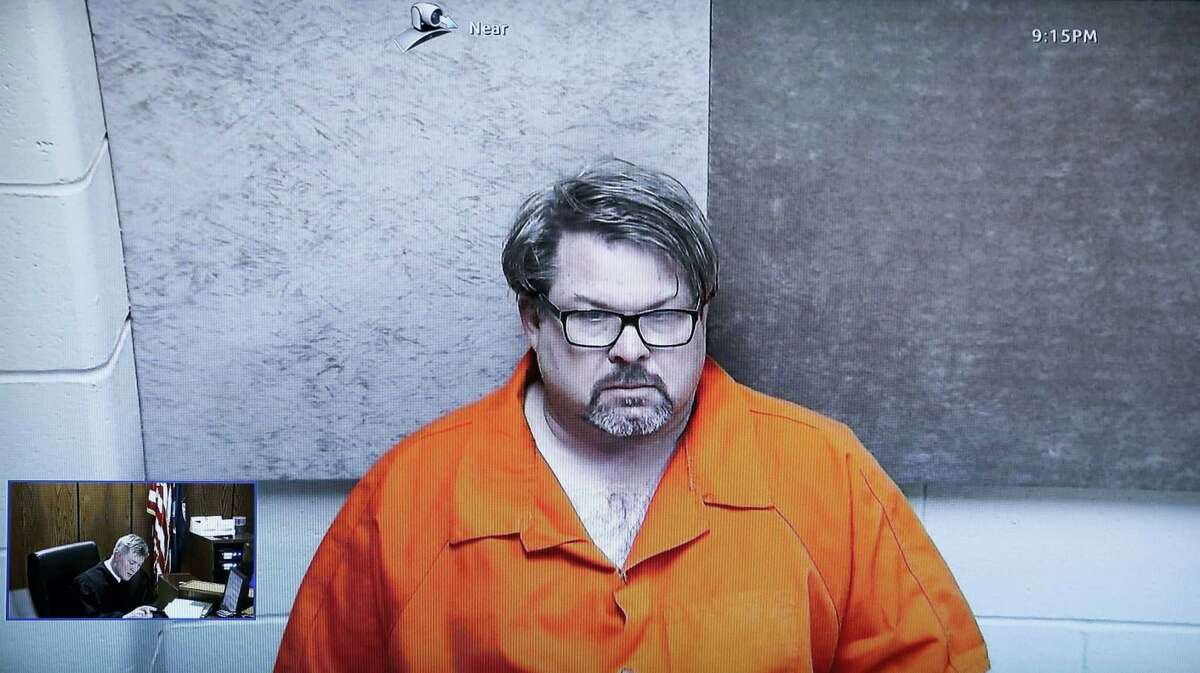 Jason Dalton, of Kalamazoo Township, Mich., is arraigned via video before Judge Christopher T. Haenicke, Monday, Feb. 22, 2016, in Kalamazoo, Mich. Dalton is charged with multiple counts of murder in a series of random shootings in western Michigan.