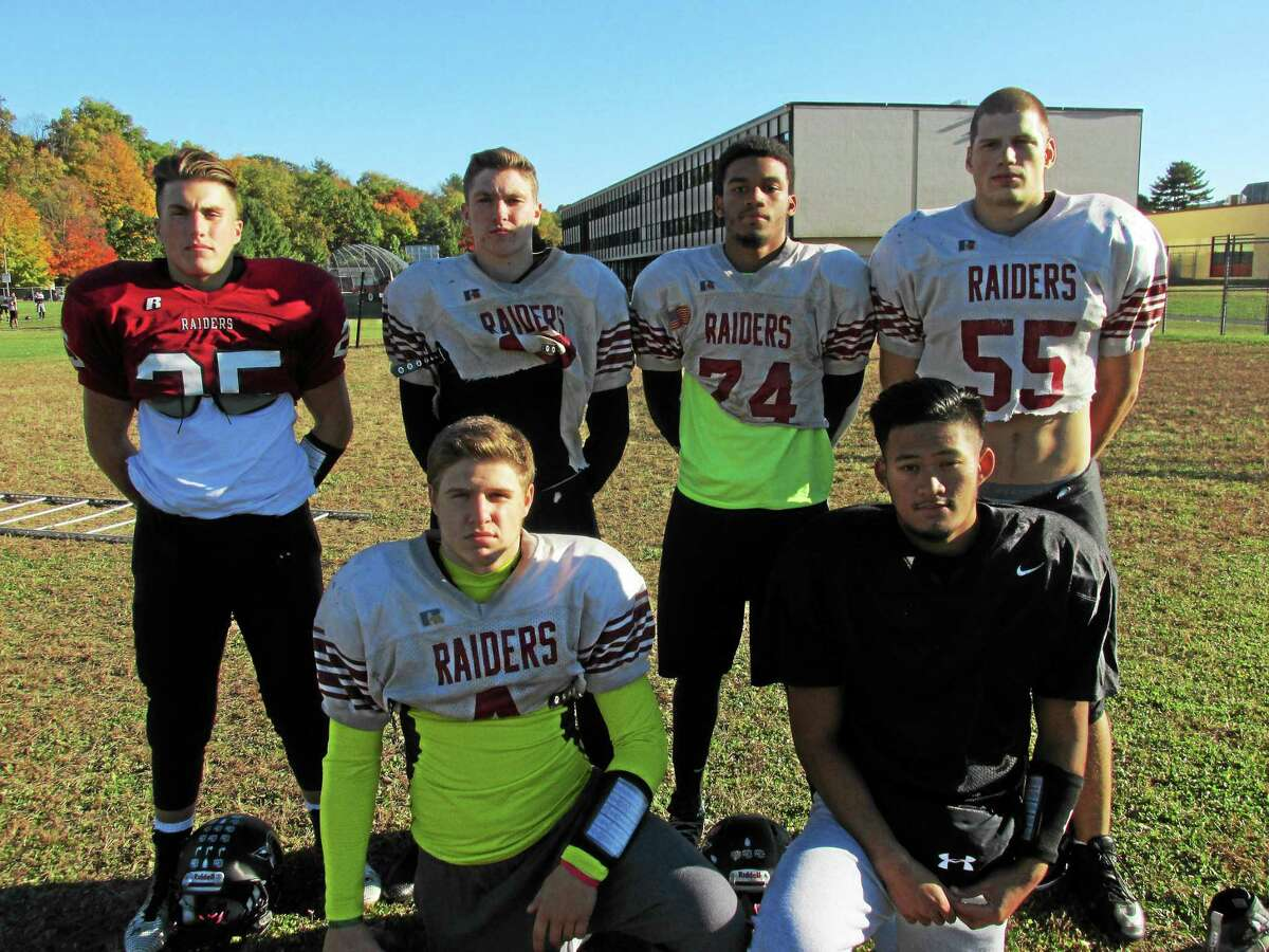 Torrington football running backs and receivers shown above are, front row left to right: Zak Mancini, Domonick Phengkaen. Back row left to right: Cam Cerutto, Jordan Henneberry, Newton Frias, Nate Bresson.