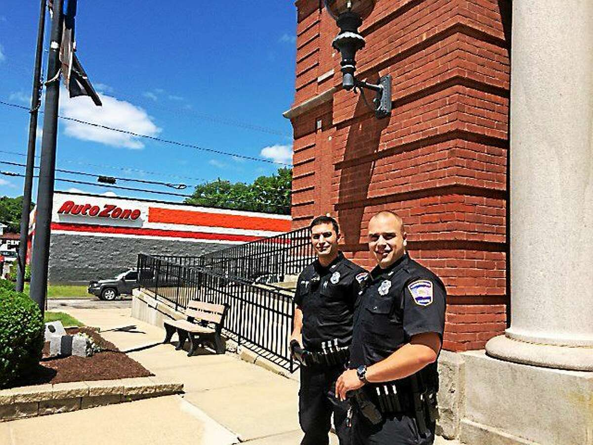 CONTRIBUTED PHOTO From left, Officer Dominic Savo and Officer Matthew Fifer.