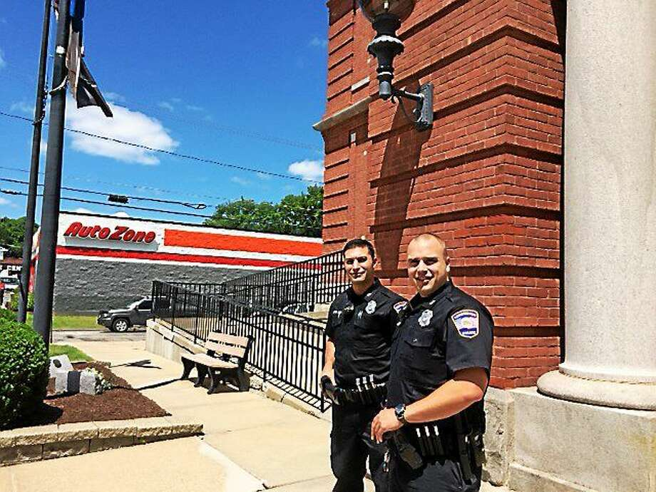 CONTRIBUTED PHOTO From left, Officer Dominic Savo and Officer Matthew Fifer. Photo: Journal Register Co.