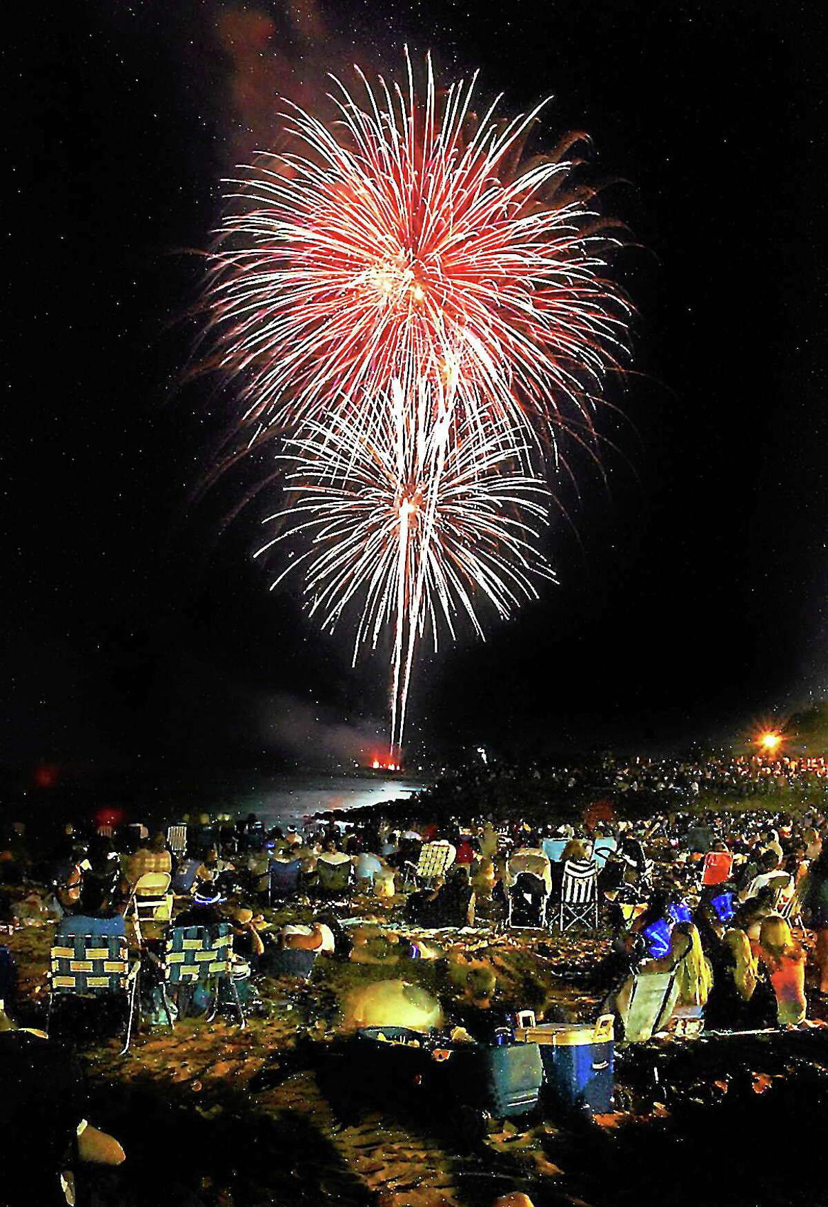 Fireworks at the Savin Rock beach area of West Haven.