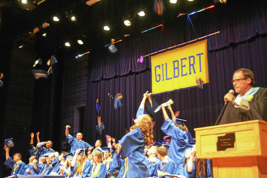 The Gilbert School Class of 2015 was celebrated Wednesday evening with a commencement ceremony in the school auditorium in Winsted. Photo: Ben Lambert - Register Citizen