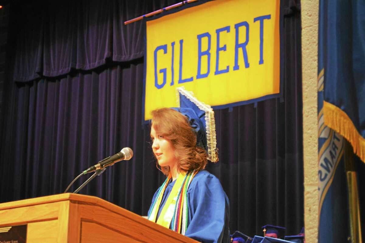 Valedictorian Olivia Ortman addresses The Gilbert School Class of 2015, which was celebrated Wednesday evening with a commencement ceremony in the school auditorium in Winsted.