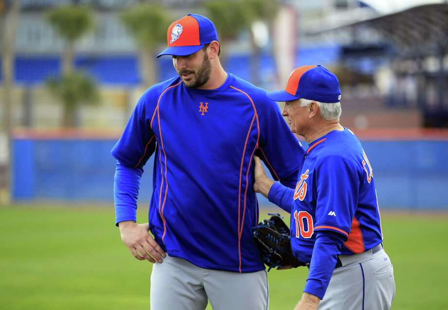 New York Mets manager Terry Collins, right, talks with pitcher Matt Harvey during spring training Saturday in Port St. Lucie, Fla. Photo: Jeff Roberson — The Associated Press  / AP