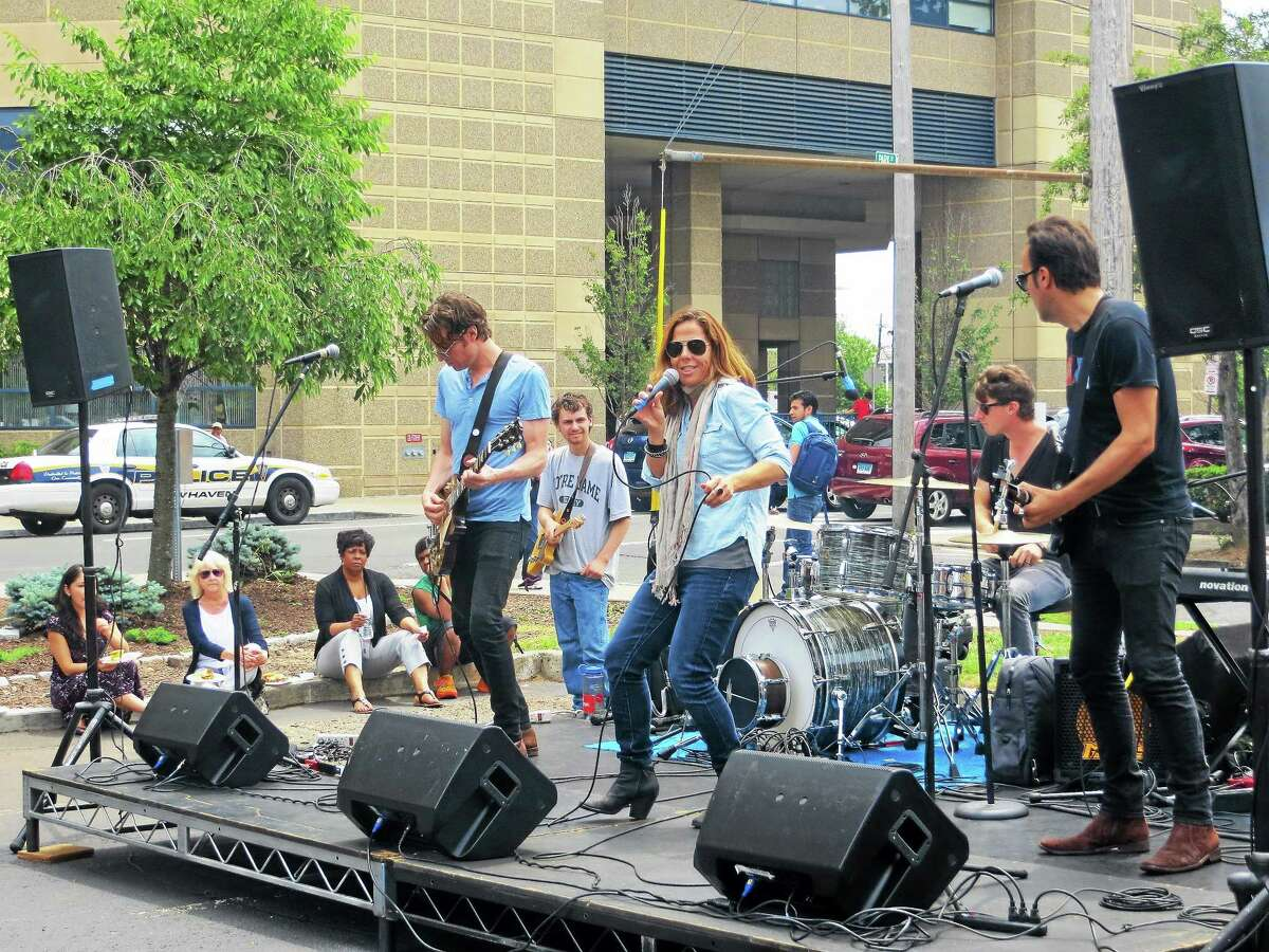 (Cara Rosner - Conn. Health I-Team) Singer-songwriter Mary McBride and her band mates performed recently in New Haven.
