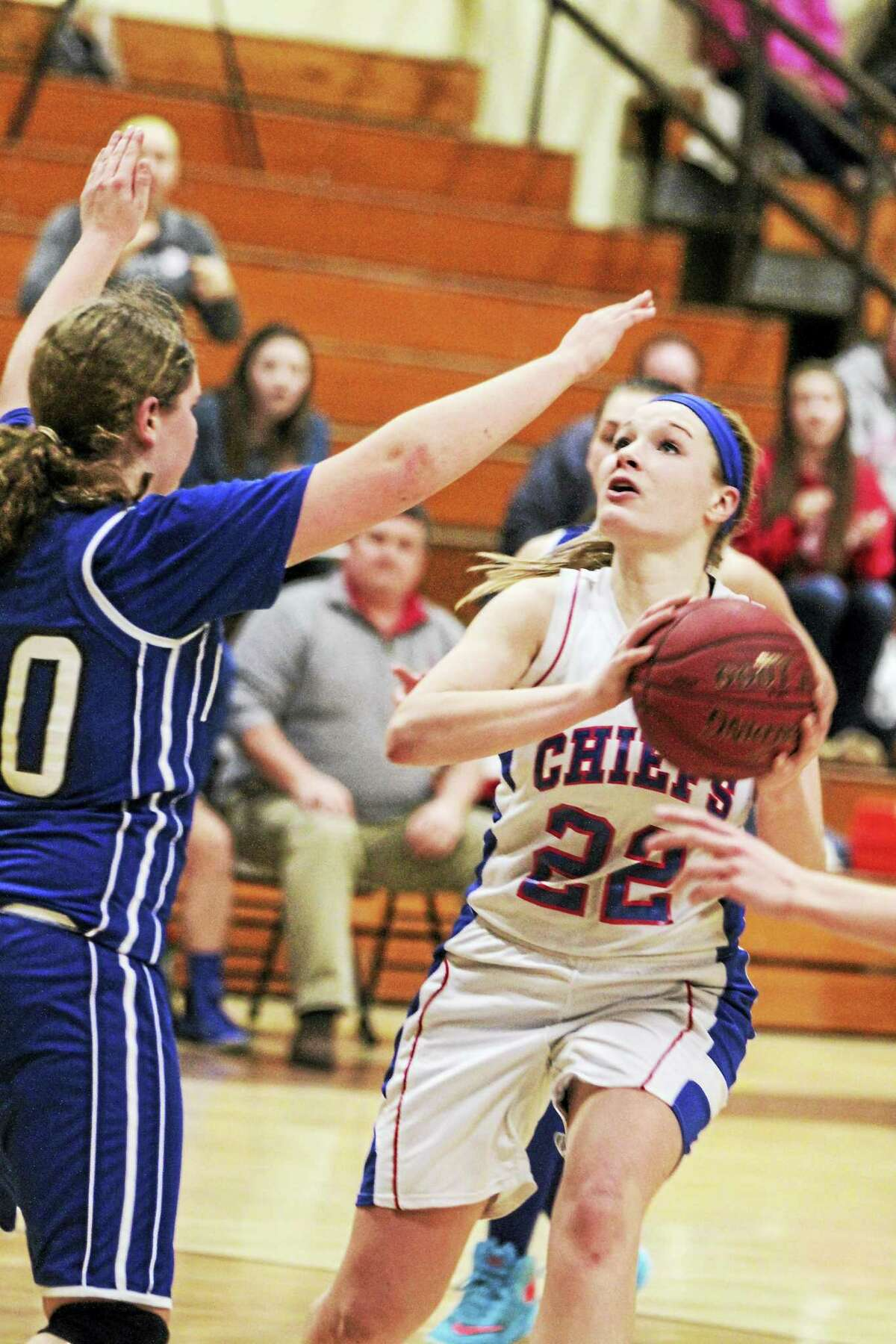 Photo by Marianne KillackeyNonnewaug center Courtney Carlson led the Chiefs to second-half win at Thomaston in a Berkshire League Tournament semifinal at Thomaston High School Monday night.