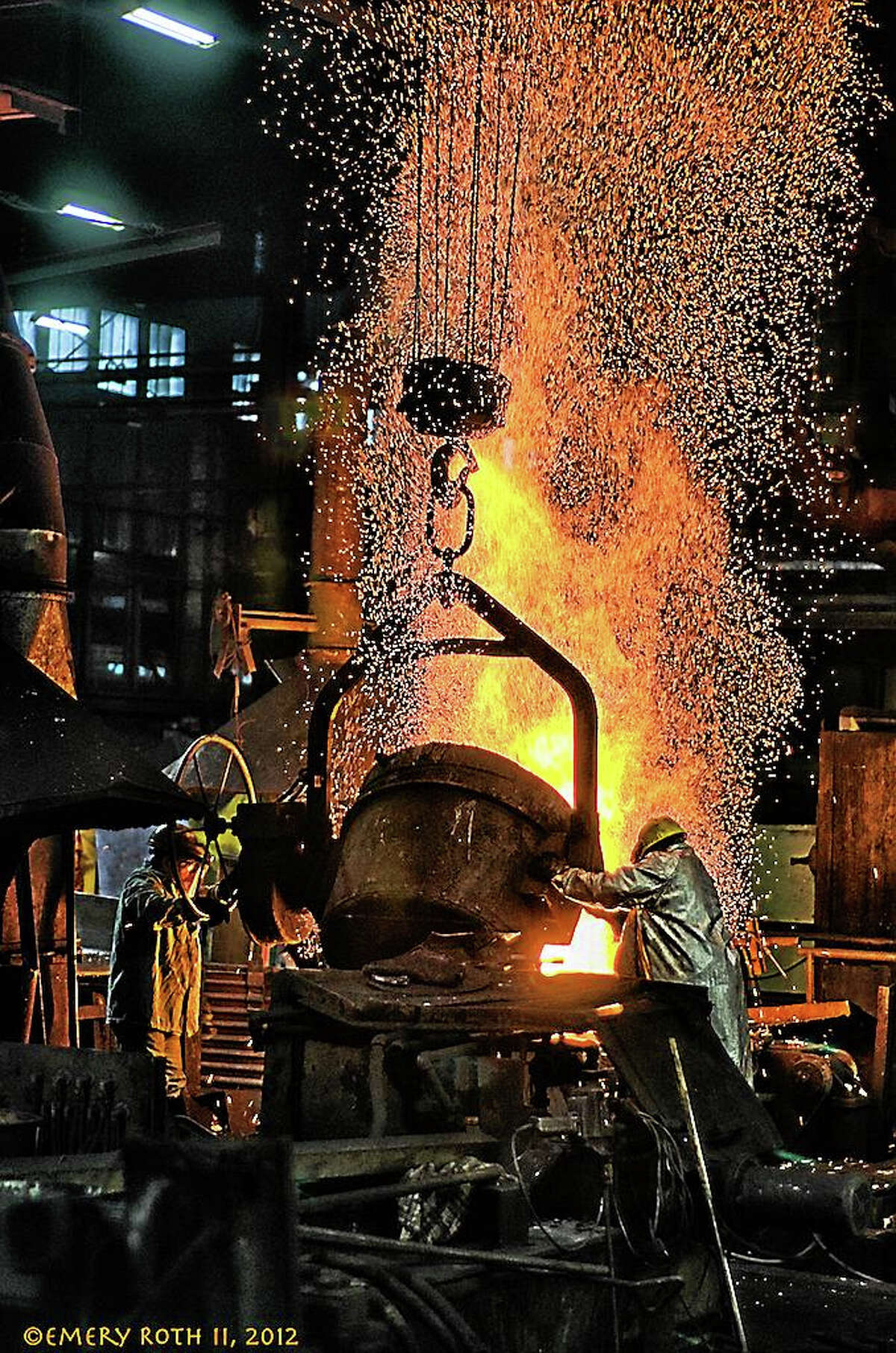 """Photo by Emery RothSteel workers in Connecticut, in a photo by Emery """"Ted"""" Roth."""