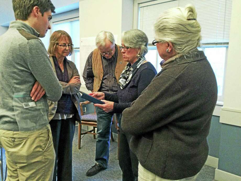 Library Director Ann Havemeyer answers questions after her lecture on architect Alfredo Taylor on Saturday afternoon. Photo: Catherine Guarnieri — The Register Citizen
