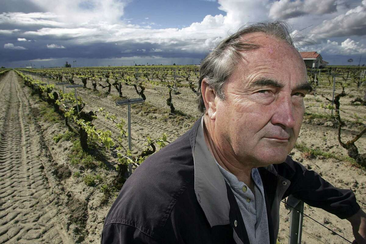 In this April 10, 2006, file photo raisin farmer Marvin Horne stands in a field of grapevines planted in 1918 next to his home in Kerman, Calif. The Supreme Court said June 22 that a program that lets the government take raisins away from farmers to help reduce supply and boost market prices is unconstitutional.