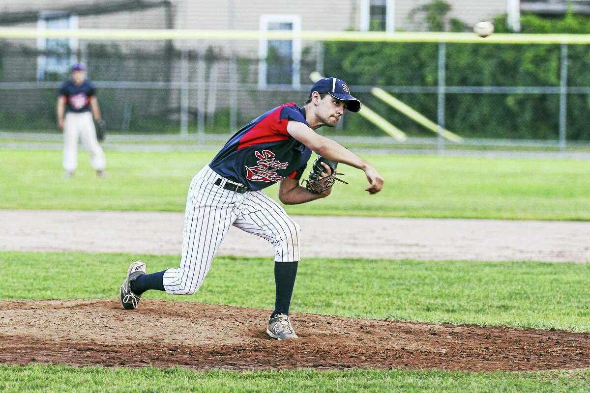 Photo by Marianne KillackeyA much-improved Terryville Connie Mack Baseball team forced veteran Torrington Sports Palace pitcher Josh Rubino to work harder than expected for the win.