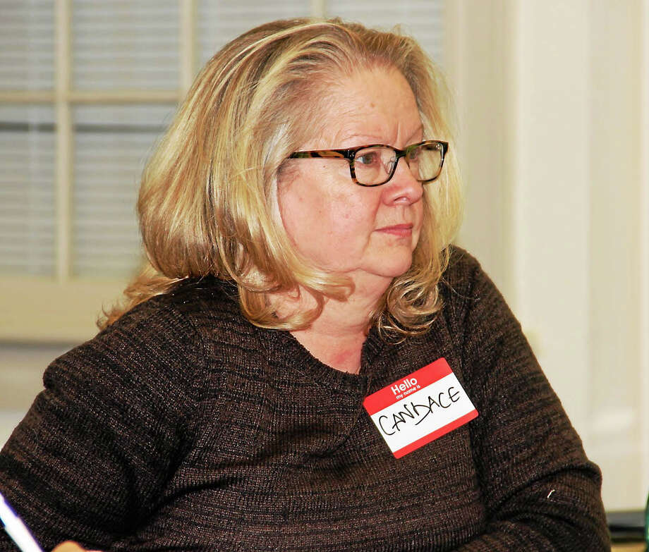 Mayor Candace Bouchard, a member of Winsted Trails, a volunteer group advocating for trails, at a meeting with a National Parks Service professional to discuss trail plans for the town. Photo: Manon Mirabelli — Register Citizen