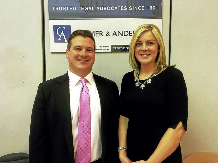 Attorneys Joshua Weinshank and Abigail Miranda, two of Cramer & Anderson's associates, participated in the Ridgefield Chamber of Commerce's first Love Your Local Business Showcase on Feb. 11 at The Ridgefield Rec Center. Photo: Contributed Photo
