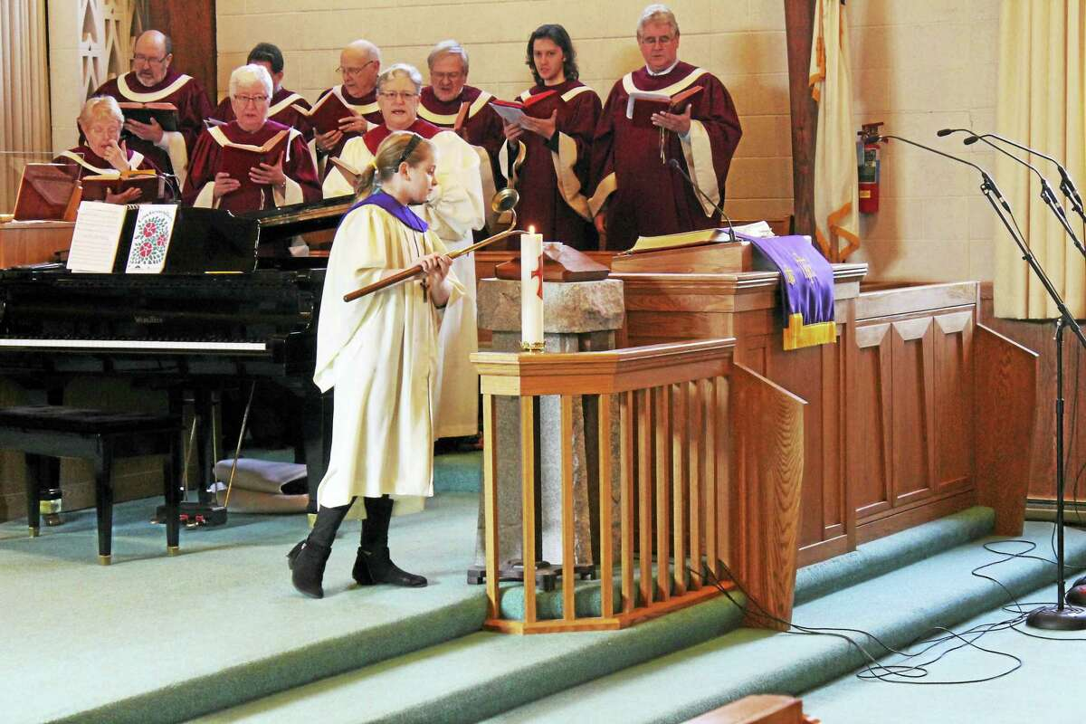 Members of the First United Methodist Church in Torrington celebrate its 150th anniversary with a special service. (John Nestor/for The Register Citizen)