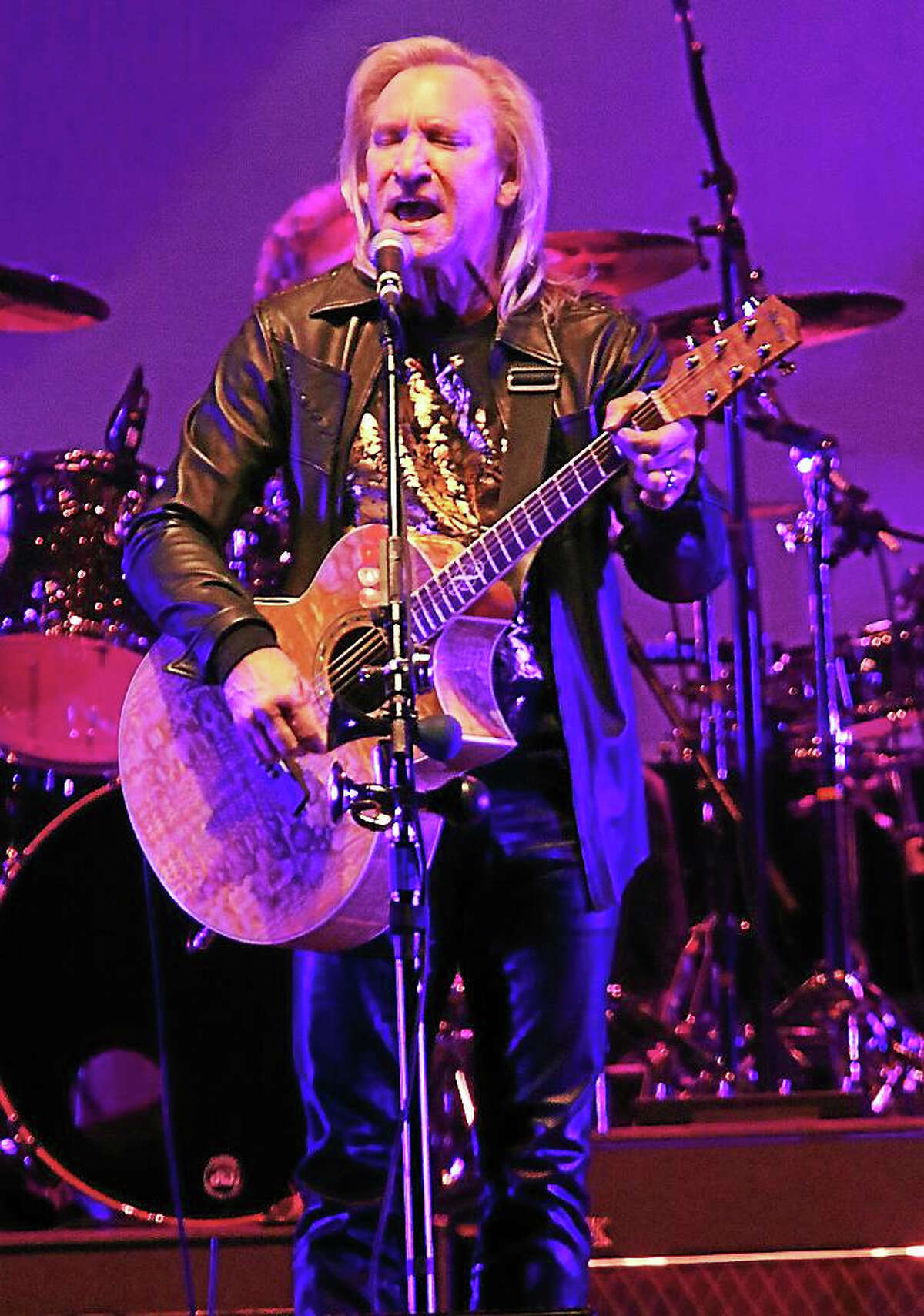 Photo by John Atashian Singer, songwriter and multi-instrumentalist Joe Walsh is shown performing to a full house of fans at the Mohegan Sun Arena in Uncasville Oct. 16. Joe played songs from his 40 year music career, which included material from The James Gang, The Eagles and his solo material.