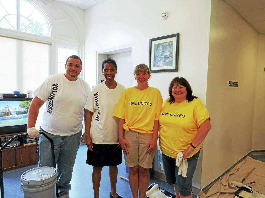 Contributed photoFrom left, Union Savings Bank employees volunteering at the Northwest CT YMCA's Winsted Branch during the United Way's recent Day of Caring included  Rosana Vidal, Joy Robertson, Robin Hollister, and Andrew Jimenez. Photo: Journal Register Co.