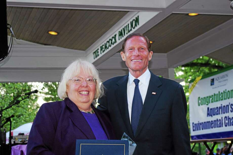 CONTRIBUTED PHOTO Shelley Harms, with U.S. Sen. Richard Blumenthal, D-Conn., at the award presentation. Photo: Journal Register Co.