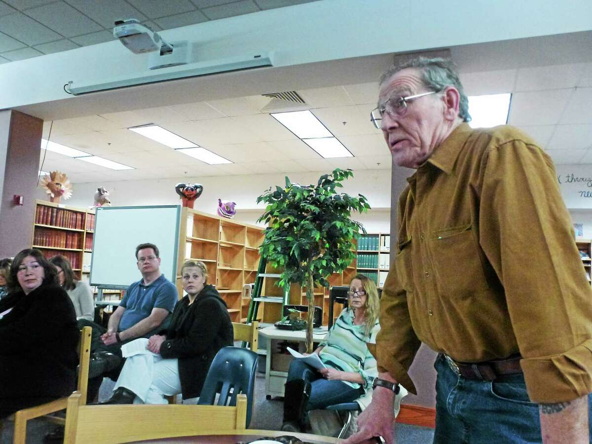 Art Melycher addresses parents during the public comment portion of Wednesday night's the Gilbert School budget meeting.