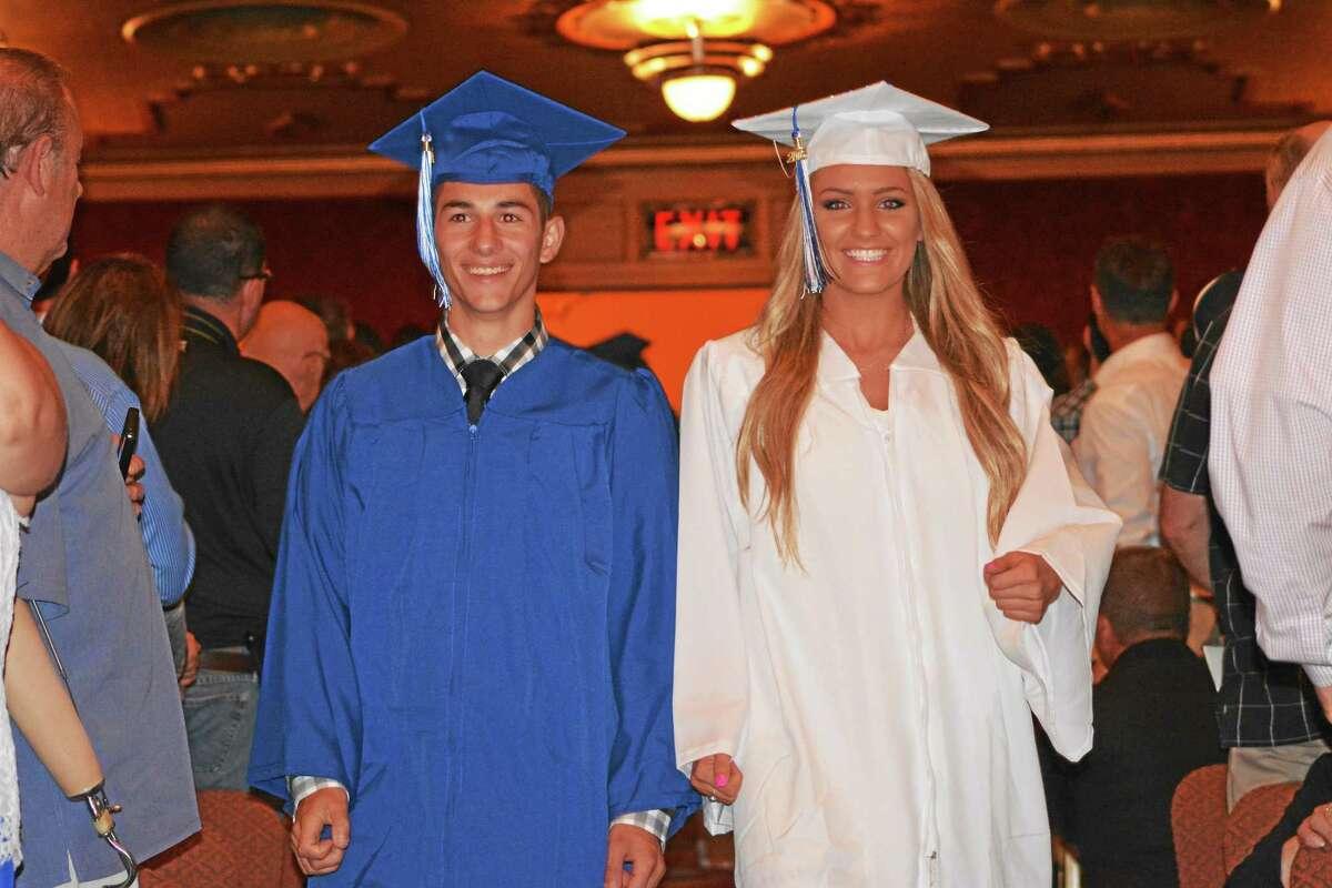 AMANDA WEBSTER — THE REGISTER CITIZEN Members of Lewis S. Mills High School Class of 2015.