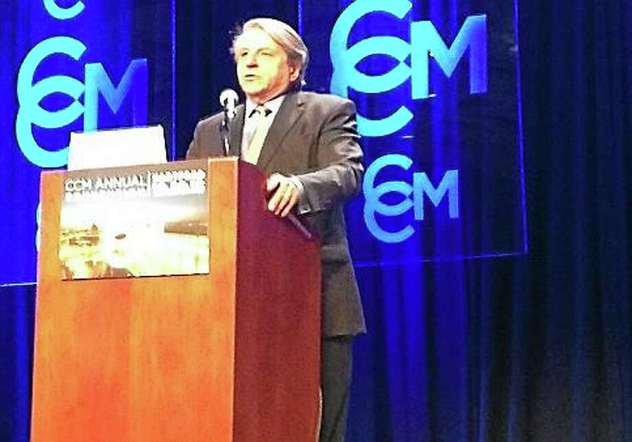 """Benjamin Barber, Ph.D., gave a keynote address inspired by his new book, """"If Mayors Ruled the World,"""" at the 2015 Connecticut Conference of Municipalities Annual Convention. Photo: Elizabeth Regan — Ctnewsjunkie.com"""