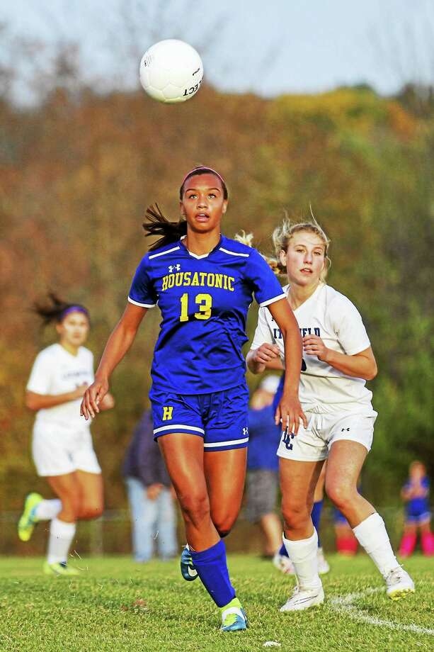 Housatonic's Lauren Segalla heads a long list of girls soccer stars in Litchfield County. Photo: Photo By Marianne Killackey  / 2015