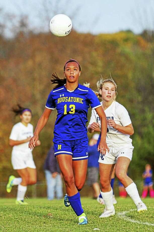 Housatonic's Lauren Segalla heads a long list of girls soccer stars in Litchfield County. Photo: Photo By Marianne Killackey  / 2015