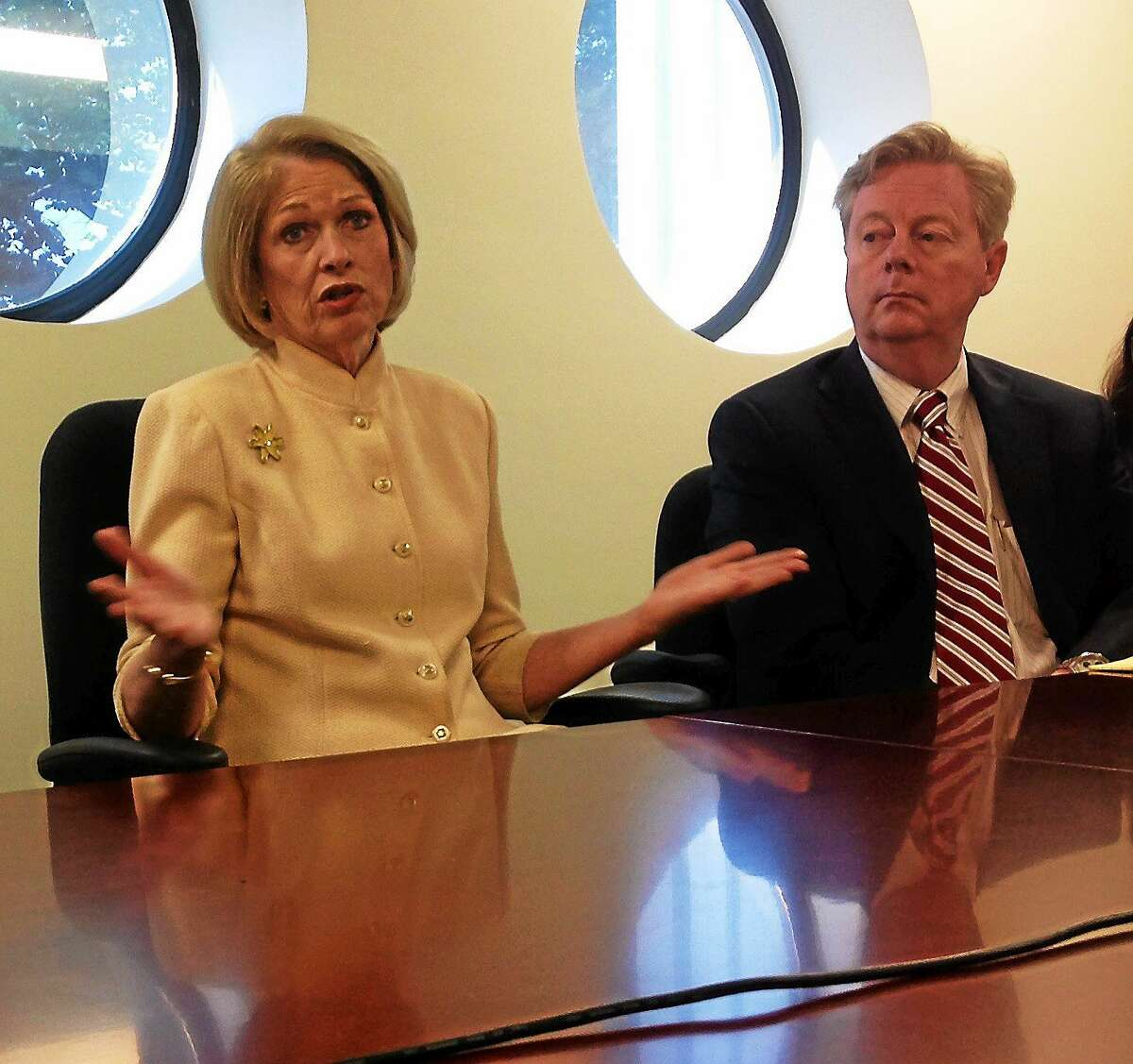 (New Haven Register) Marna Borgstrom, CEO of Yale New Haven Health Systems, and Stephen Frayne, lobbyist for the Connecticut Hospital Association at an editorial board meeting.