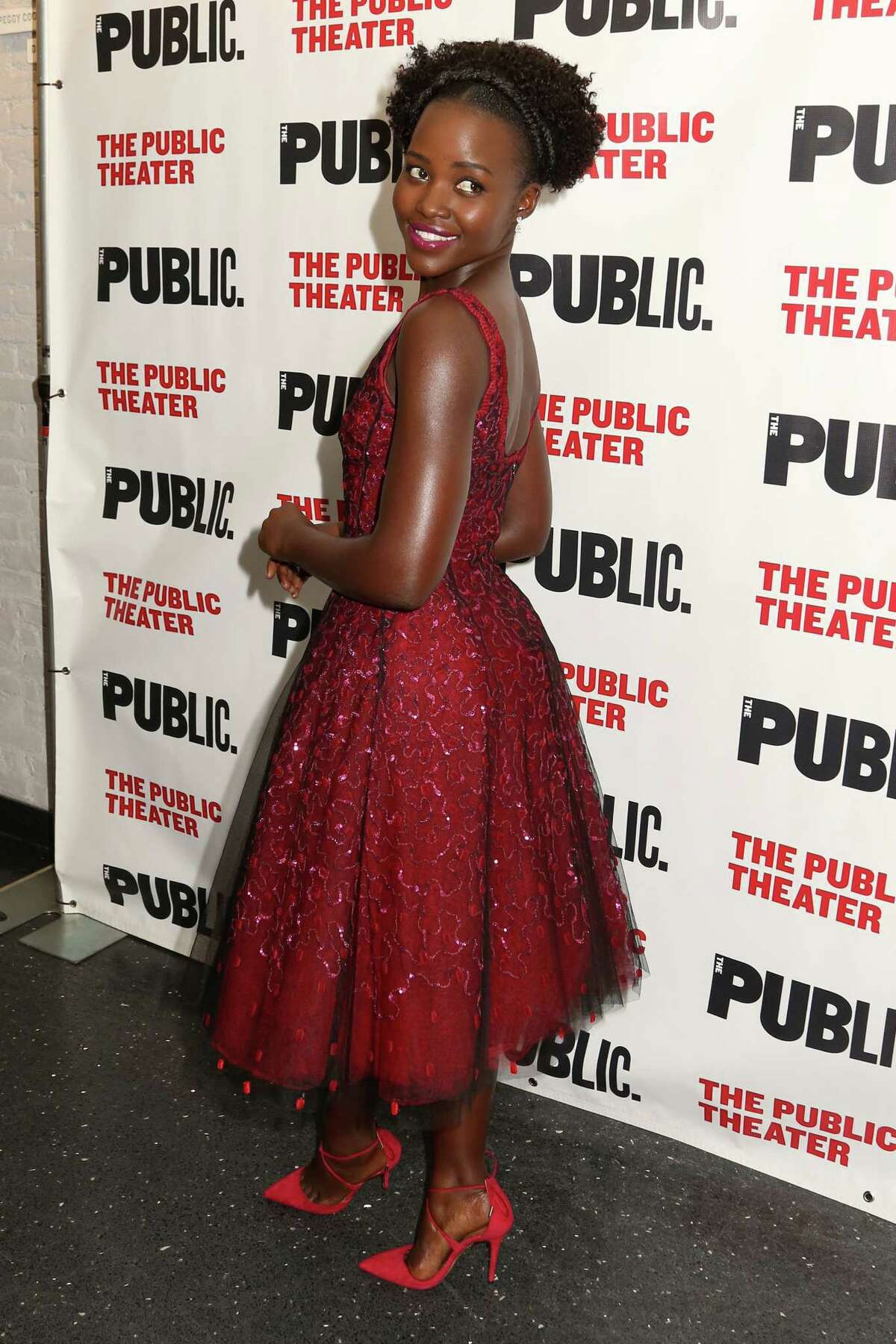 """Lupita Nyong'o attends the opening night celebration of """"Eclipsed"""" at The Public Theater on Oct. 14, 2015 in New York."""
