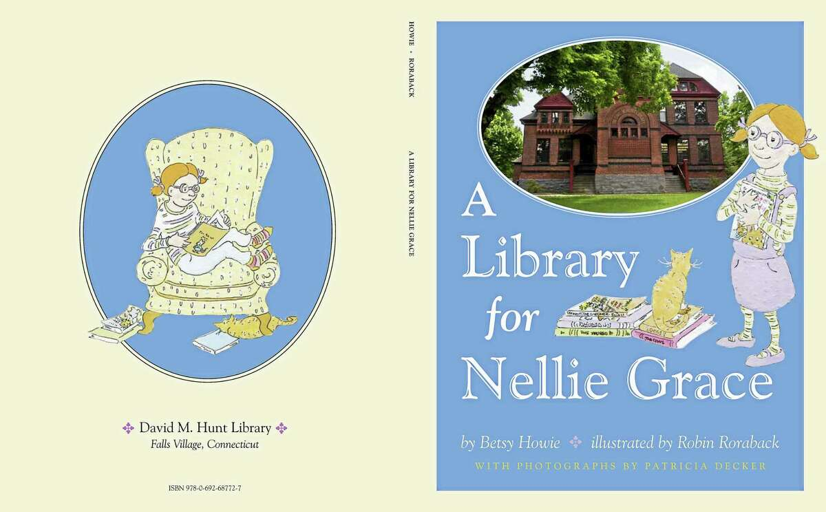 The inside pages of the children's book, A Library for Nellie Grace.