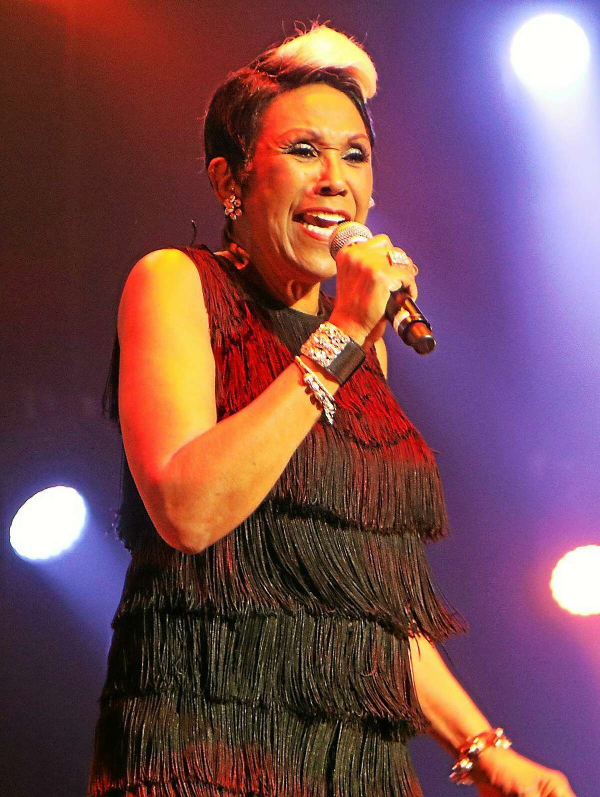Photo by John Atashian Singer Ruth Pointer, best known for being the eldest member of the legendary Pointer Sisters, performs at the Mohegan Sun Arena during the groups headline appearance on Feb. 6. Their set was part of the ì80ís Extravaganzaî concert which also included performances by singers Debbie Gibson, Terri Nunn & Berlin, Tiffany, Shannon, Club Nouveau and Andy Bell of Erasure.