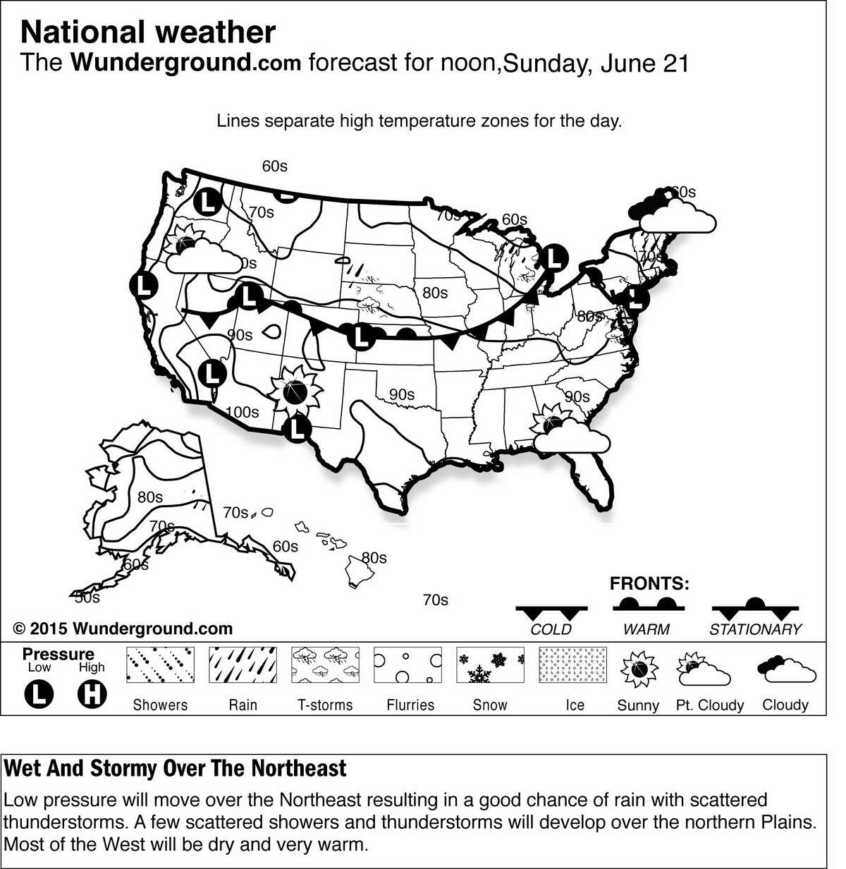 This is a Weather Underground forecast for Sunday, June 21, 2015, for the U.S. Low pressure will move over the Northeast resulting in a good chance of rain with scattered thunderstorms.