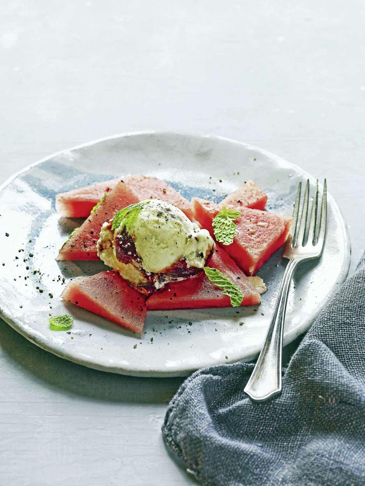 Feta tomato swirl ice cream.