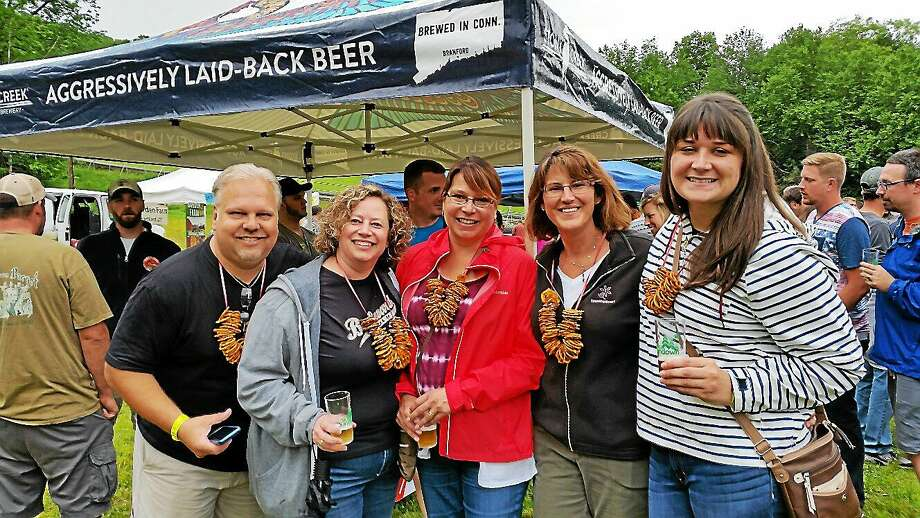 Alex Dzikas of Bristol; Liz Gawlik of Manchester; Rima Gallagher of Suffolk, Virginia; Irene Dzikas of Bristol; and Danielle Gallagher of Suffolk, Virginia attended the 10th Annual Ski Sundown Summer Brewfest at Ski Sundown ski resort at 126 Ratlum Road in New Hartford on Saturday, June 20, 2015. Photo: NF Ambery/for The Register Citizen