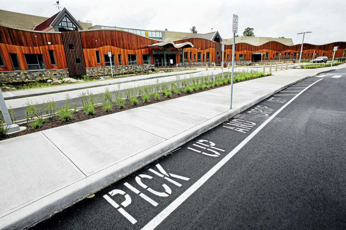 The pick up area is shown in front of the new Sandy Hook Elementary School in Newtown.