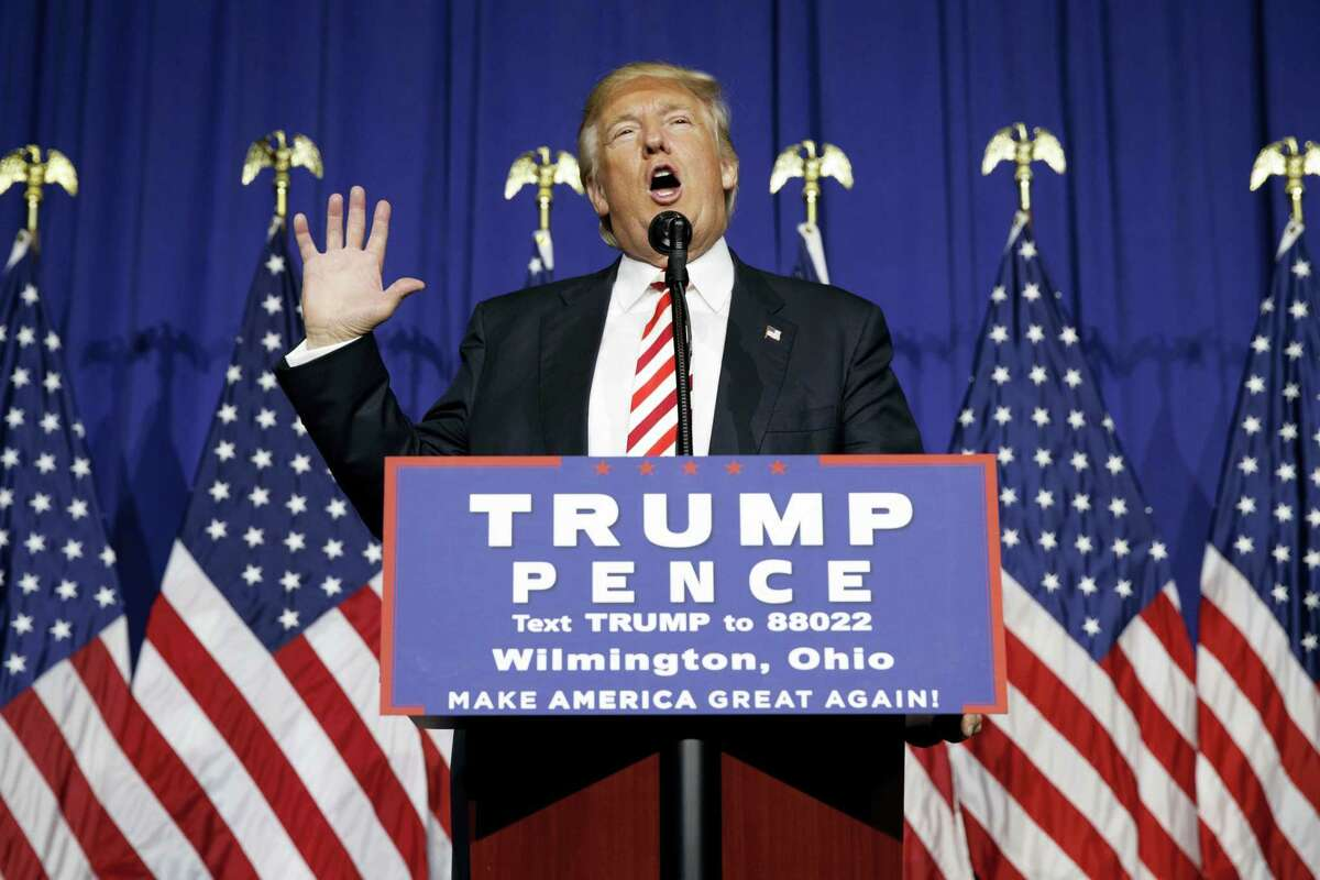 Republican presidential candidate Donald Trump speaks during a campaign rally, Thursday in Wilmington, Ohio.