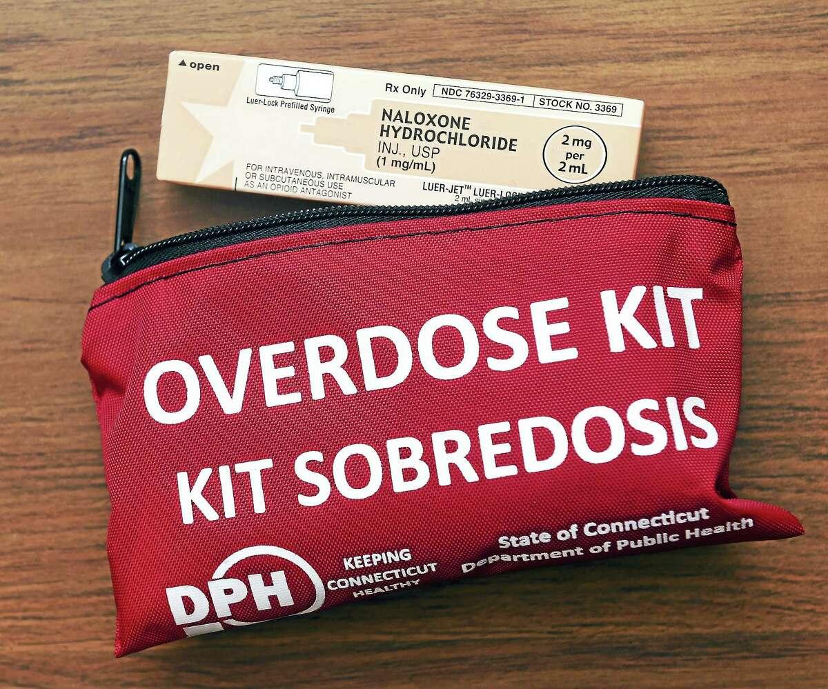 An overdose kit containing naloxone hydrochloride.