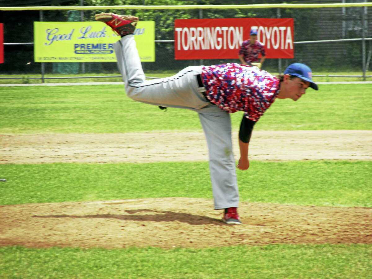Winsted's Mitch Gryniuk threw a two-hitter in Post 43's American Legion Baseball sweep in a double header against Torrington Sunday at Fuessenich Park.